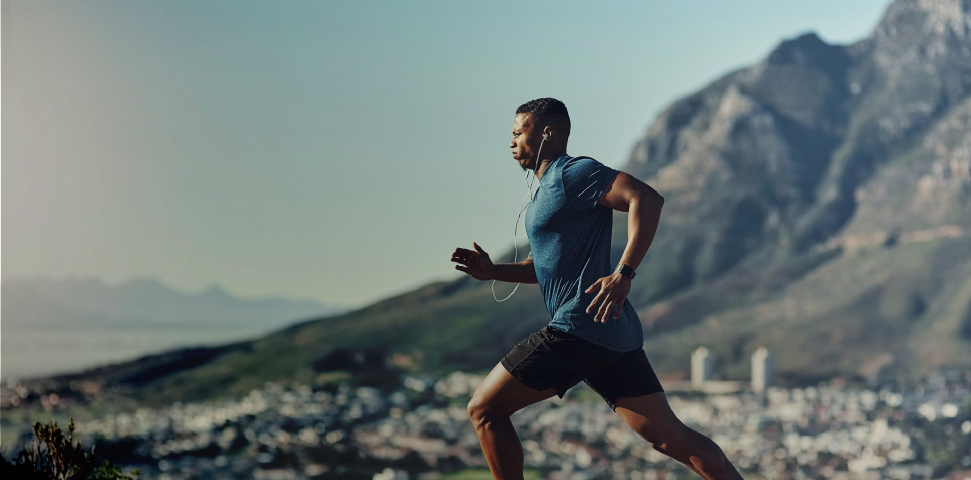 Runner working to achieve his goals